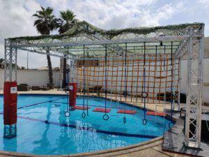 מתקן נינג'ה אקסטרים לבריכה בחצר
